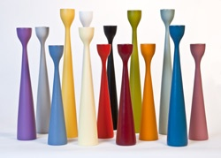 Check out the colorful candlesticks from Danish design firm Applicata.