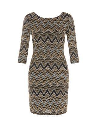 Wear our Gold Metallic Zig Zag Bodycon Dress with strappy heels, statement earrings and a metallic clutch for a glam look this party season. £14.99 #newlook #PartyReady