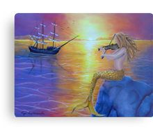 Metal Print, mermaid,painting,sunset,seascapel,fantasy,scene,aquatic,life,creature,feminine,nude,big,fish,sitting, on, rock, sailboat, sailing, violin, fiddle, playing, player, music, whimsical, sitting,romantic,purple,water,mythical,legendary,magical,mesmerizing,beautiful,imagination,cool,contemporary,realistic,figurative,fine,oil,wall,art,images,home,office,decor,artwork,modern,items,ideas,for sale,redbubble