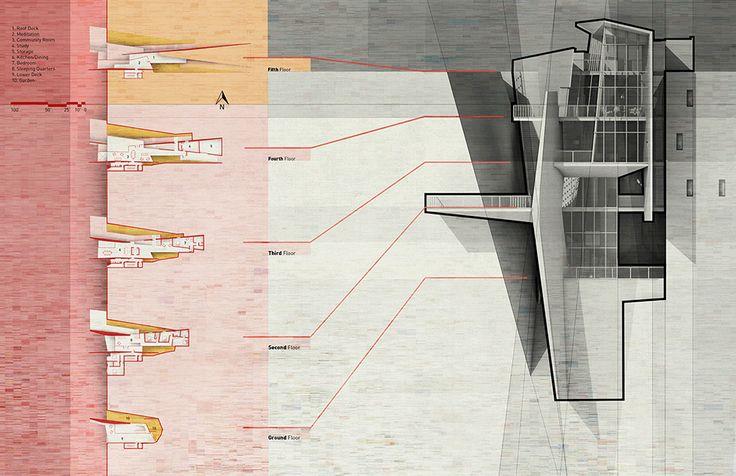 Plans for Cliff Top Retreat by Alex Hogrefe of Visualizing Architecture conceptual concrete architecture