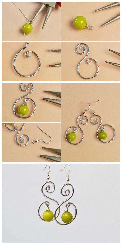 Learn from #Beebeecraft how to make #wirewrapped beads #dangleearrings.
