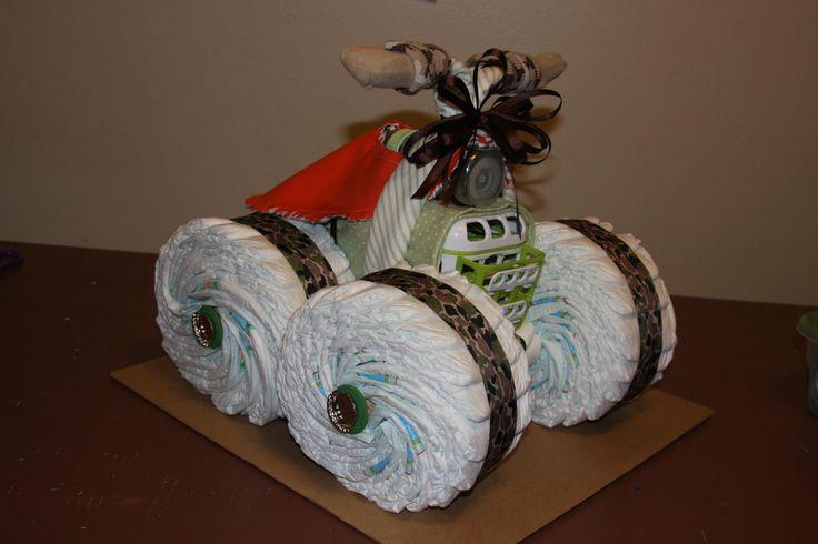 diy camo baby shower gift | Uniique 4 wheeler diaper cake... by LonestarLinens on Etsy