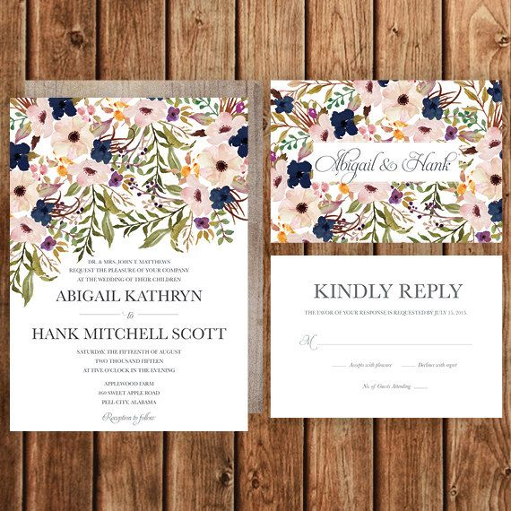 Rustic Wedding Invitation, Blush, Navy, Floral, Spring Wedding, Fall Wedding, Woodland, Bohemian, Betty Lu Designs