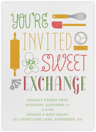 Free invitation from Paperless Post- Cookie Swap I Crate and Barrel