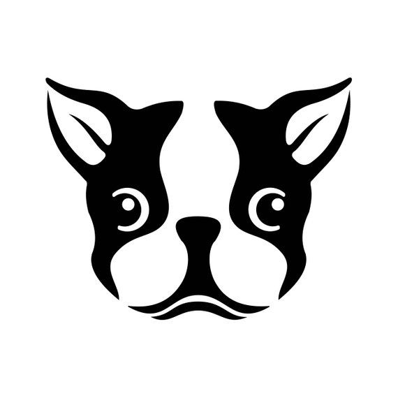 Boston Terrier Dog Head Graphics Svg Dxf Eps Png Cdr Ai Pdf Vector Art Clipart Instant Download Digi Boston Terrier Dog Stencils Stencil Art