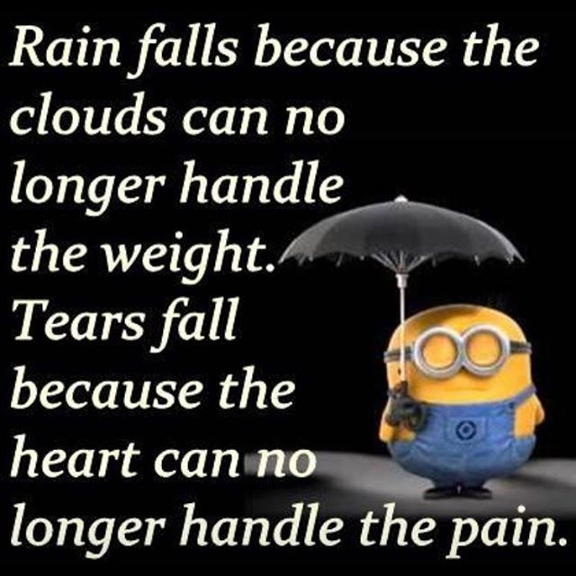 Rain Falls Because The Clouds Can No Longer Handle The Weight. Tears Fall…