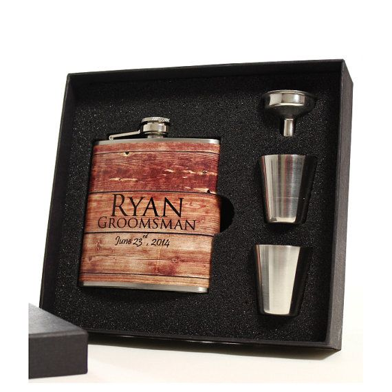 5 Personalized Faux Barn Siding Flask Sets by BluDogDesigns, $105.00