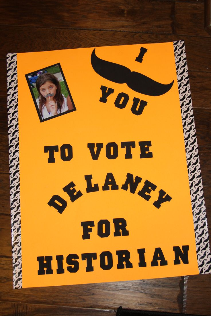 Student Council Poster. I mustache you to vote for Historian.