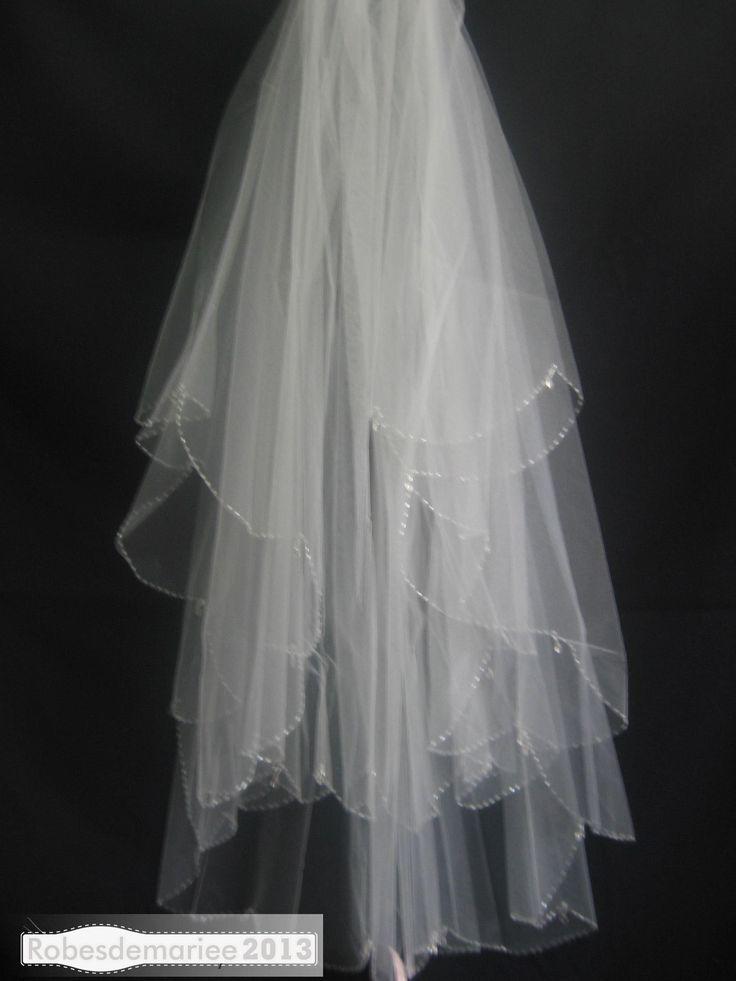 Coude Jolie 3-Layer de mariée Veil avec Edge perles
