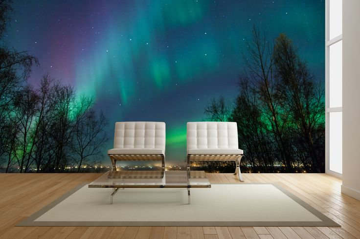 Northern Lights view from the city #mural #interior #design