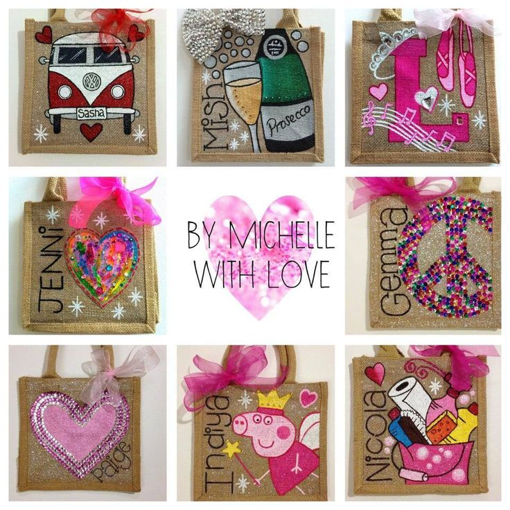 Hand painted personalised jute bags 'By Michelle with Love' x