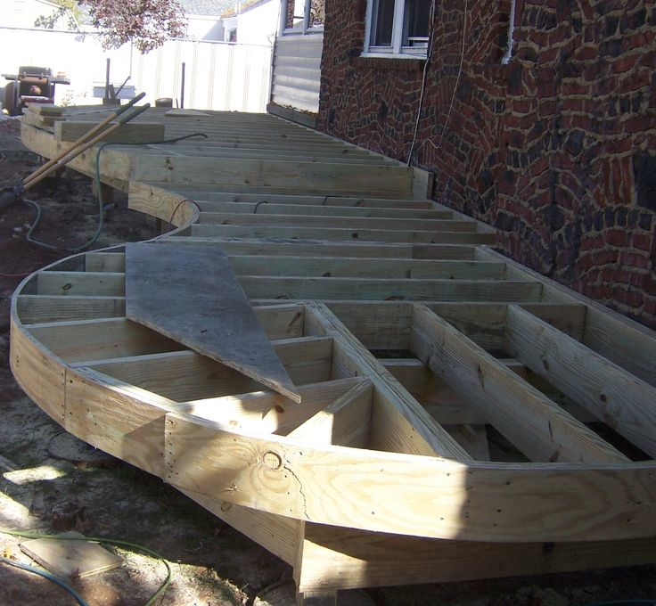 Curved deck construction details for Circular garden decking