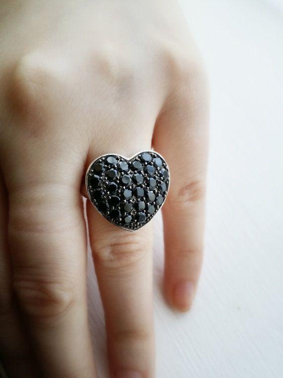 Black Spinel Sterling Silver Ring  Black by GGemstoneJewellery #promotingwomen