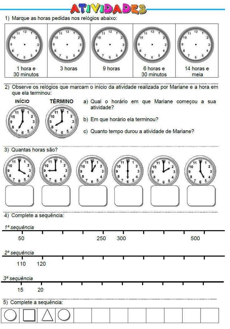 Atividades: Horas, Sequência de Números e de Figuras Geométricas
