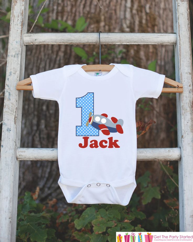 First Birthday Airplane Bodysuit - Personalized Bodysuit For Boy's 1st Birthday Party - Plane Onepiece Birthday Outfit With Name and Age