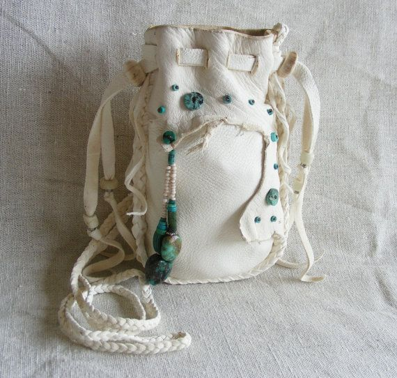 WHITE TAIL DEER deerskin leather Medicine Bag / Spirit Pouch / Cell Phone bag / drawstring Purse