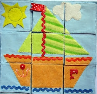 sewn puzzle for quiet book *Catholic images -- Mary / Christ on Cross / Christ at Sermon on the Mount / etc...
