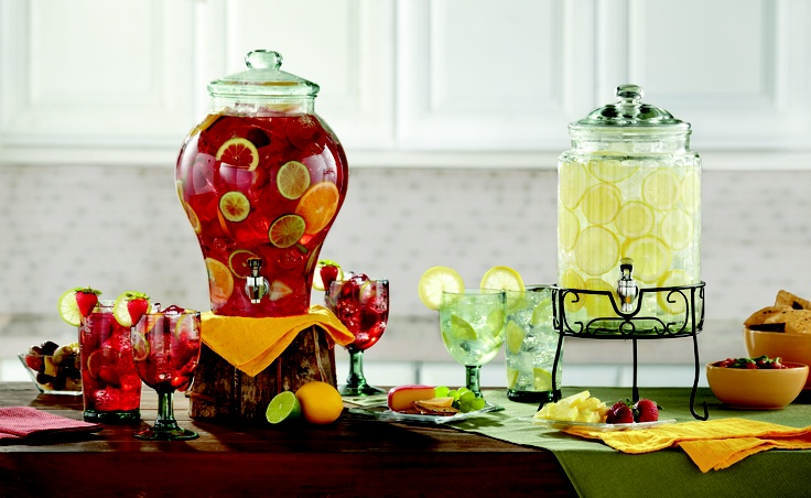 Serve a variety of beverages with these dispensers at your party.