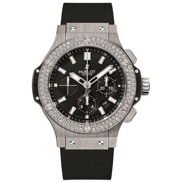Hublot Big Bang 44mm Steel Diamond Watch (24 405 AUD) ❤ liked on Polyvore featuring jewelry, watches, hublot, diamond wrist watch, diamond jewellery, steel watches and diamond jewelry
