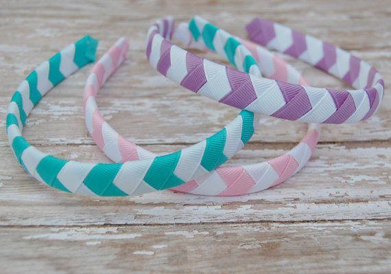 1/2 Chevron Spring Ribbon Woven Headbands