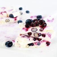 Frozen Yogurt & Berry Bars  Ingredients 2 cups of greek yogurt 1/3 cup of honey 1 tbsp vanilla extract 2 cups of berries (fresh or frozen)