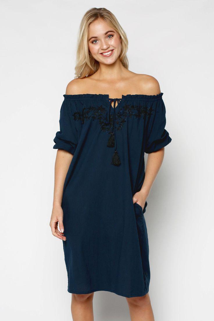 Nora Dress in Navy – Adrift Clothing