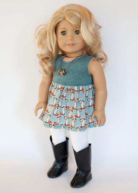 American Girl doll baby doll style shirt  blue by EverydayDollwear
