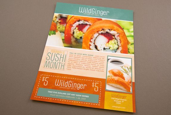 This flyer can serve as promotion for a Japanese restaurant and there is also space for a coupon to be used at the restaurant. The vibrant p...
