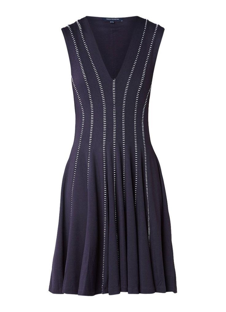 French Connection Kantha jurk met contrasterende stiksels • de Bijenkorf