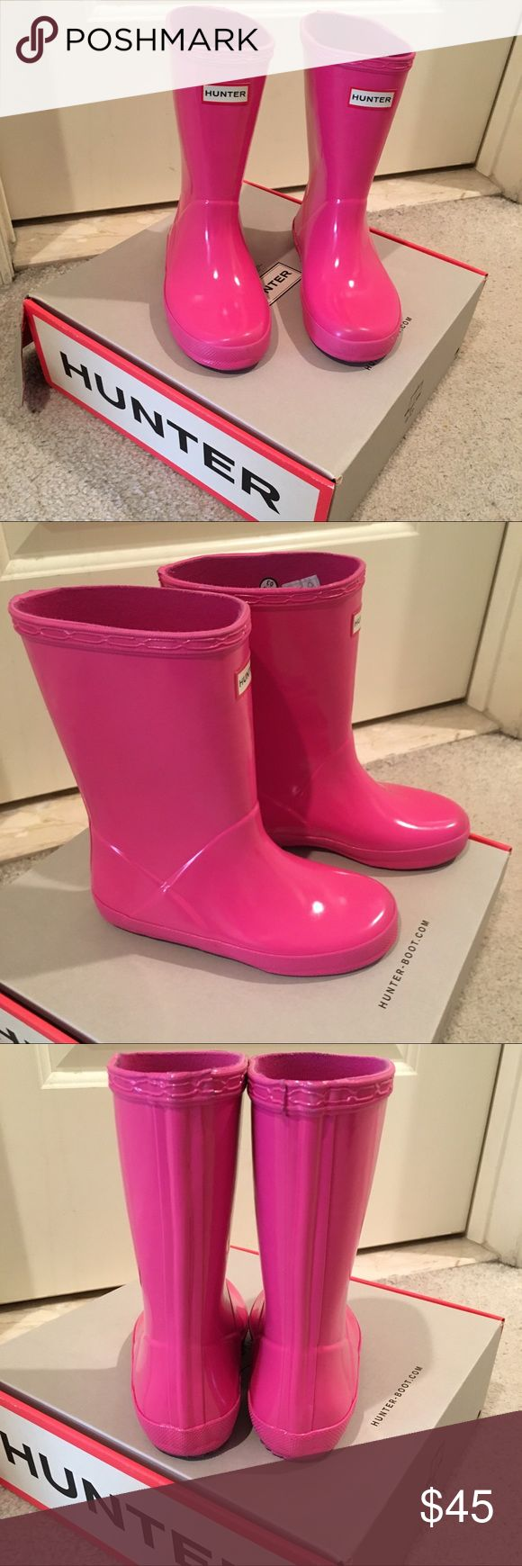 Kids Hunter Rain boots Kids Hunter pink glossy rain boots size 12. Great condition. Worn 2 times. Hunter Shoes Rain & Snow Boots