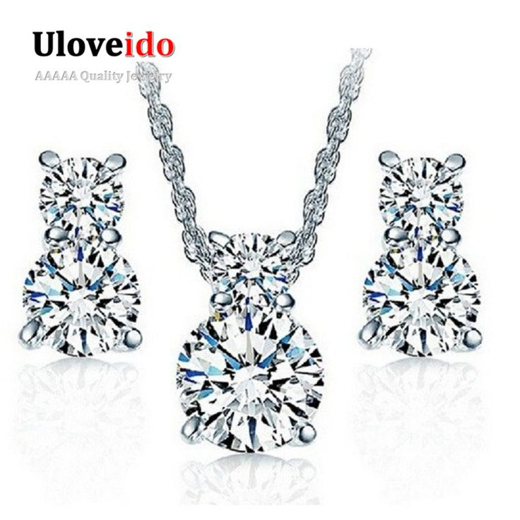 925 Sterling Silver Wedding Necklace And Earring Set Cheap Fashion Jewelry Sets For Brides Crystal
