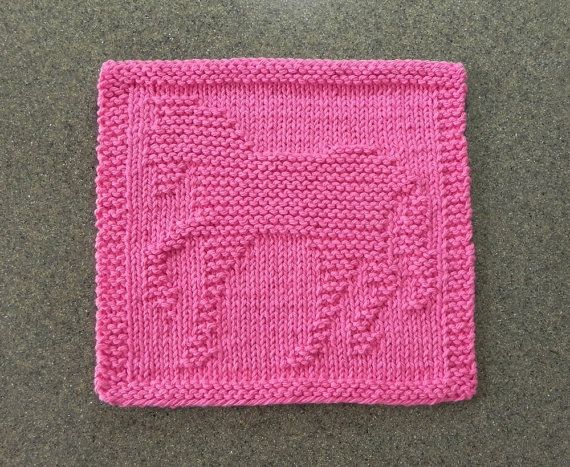 Pink Horse Knit Wash Cloth or Knit Dishcloth - Hand Knitted 100% Cotton Dark…