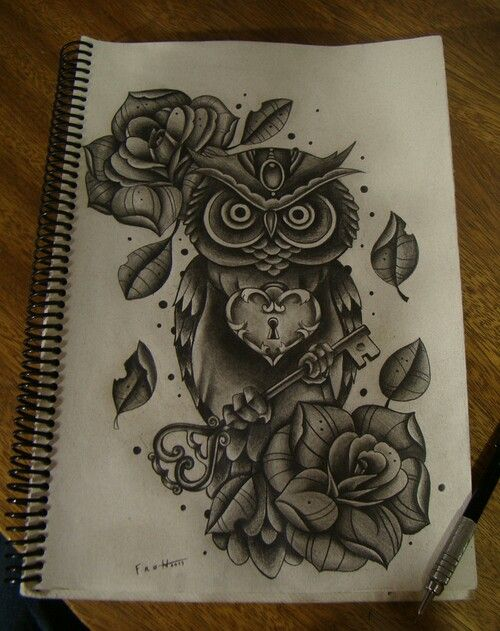 Owl tattoo....i love this, but would leave out the heart ...