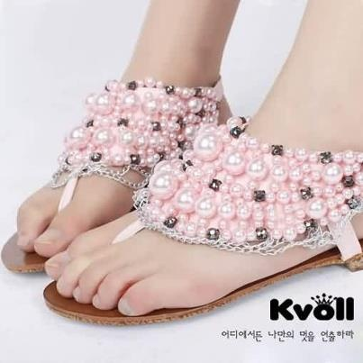 See more Light pink color sandals for ladies made up of pearls