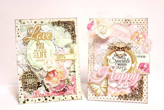 Cards 1 & 2 by Kaori for Kaisercraft using All that Glitters Collection - Wendy Schultz ~ Cards 1.