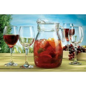 Del Sol 5-Piece Sangria Set by Home Essentials. $24.99. 1923 Features: -Hand wash with soapy water. Includes: -Set includes four 12 ounce glasses and one 92 ounce pitcher. Color/Finish: -With color gift box.