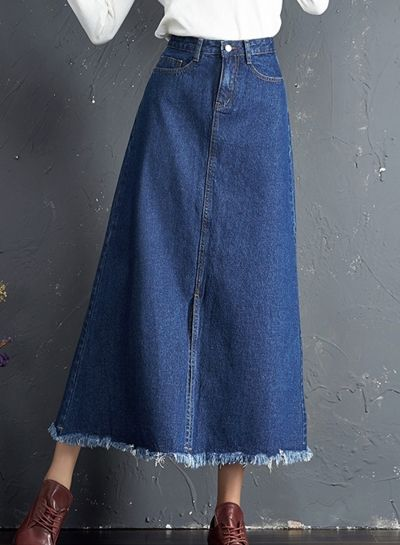 ff1c35944b6 Casual High Waist Maxi A-line Denim Skirt with Tassel novashe.com
