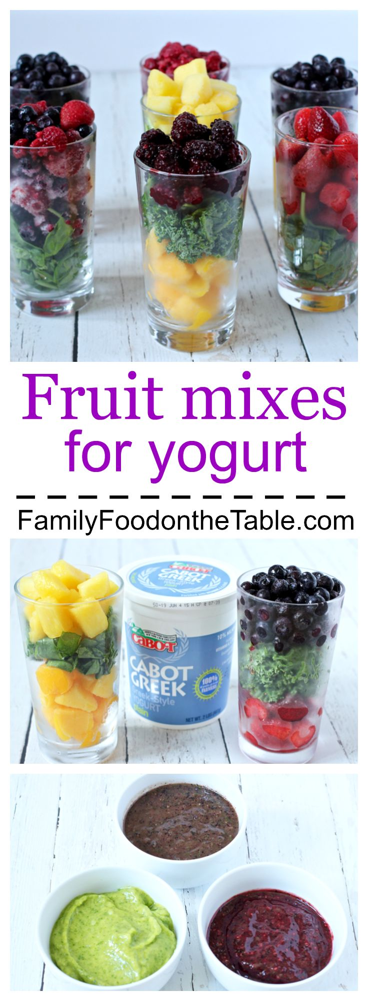 Homemade fruit mixes to stir into yogurt - great for babies, toddlers and kids! | Family Food on the Table