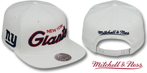 5deb7a2b04692 NY Giants TEAM-SCRIPT SNAPBACK White Hat by Mitchell