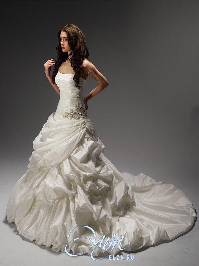 Cвадебное платье 11255: а-силуэт, длинное платье, с вогнутым вырезом, с пышной юбкой, со шлейфом, модель до 2016 года, без рукавов, платье, в ограниченном количестве, турнюр, основная ткань: тафта