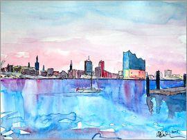 M. Bleichner - Hamburg Hafen City Skyline mit Elbphilharmonie