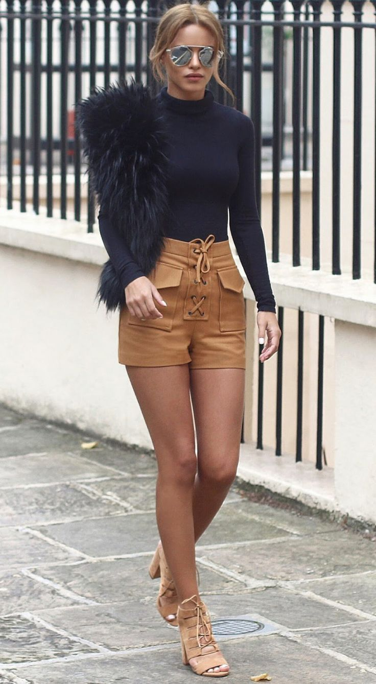 camel+shorts+++black+polo