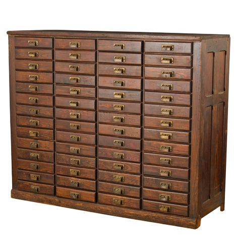Enormous 56-Drawer Oak Flat File Cabinet Circa 1905 F9554