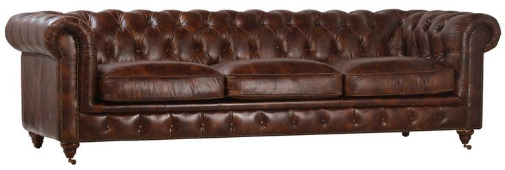 "97""L Chesterfield  Tufted  Brown Cow Leather Sofa,Gorgeous! #Unbranded #Chesterfield"