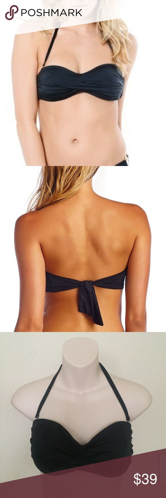 New Vitamin A Black Bandeau Halter Bikini Top L This is a Vitamin A Black ruched bikini top. Size large/extra large. Ties in the back so can fit multiple sizes. Halter strap is detachable. Never worn. Slightly padded. vitamin A Swim Bikinis