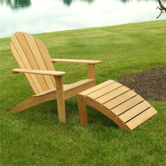 Red Hook Teak Adirondack Chair and Footstool - Outdoor Furniture, Dining Sets & Adirondack Chairs | bambeco