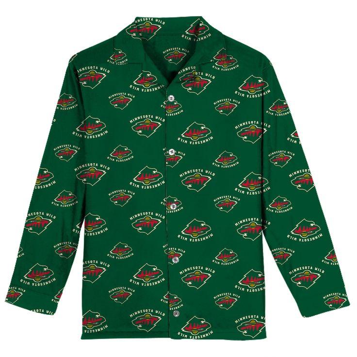Boys 8-20 Minnesota Wild Coat Pajama Set, Size: Small, Green Oth