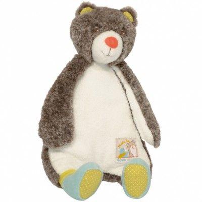 Pompon est un ours tendre et paisible qui accompagne la souris malicieuse de la collection Biscotte et Pompon par Moulin Roty. La peluche Pompon suivra bébé au quotidien !offerte par marraine