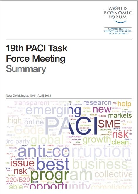 Representatives of the signatory companies to the PACI Principles; on Countering Bribery make up the PACI Task Force, which convened in New Delhi on 10-11 April 2013 to review the Task Force's activities, share best practices and steer future initiatives of the group. This is their report. #wef #wefreport