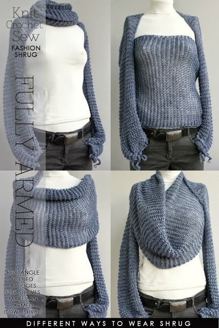 Needlecrafts - Knit,Crochet,Sew - Sleeved Shrug There are so many lovely designs that are available for knitting, c...